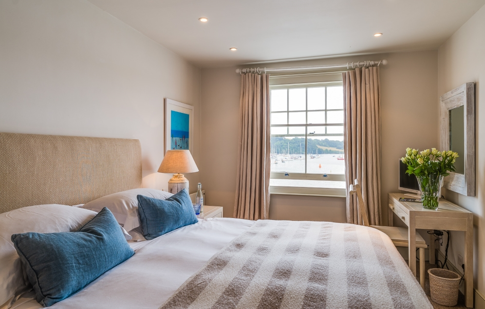 bedroom at St Mawes Hotel with seaview