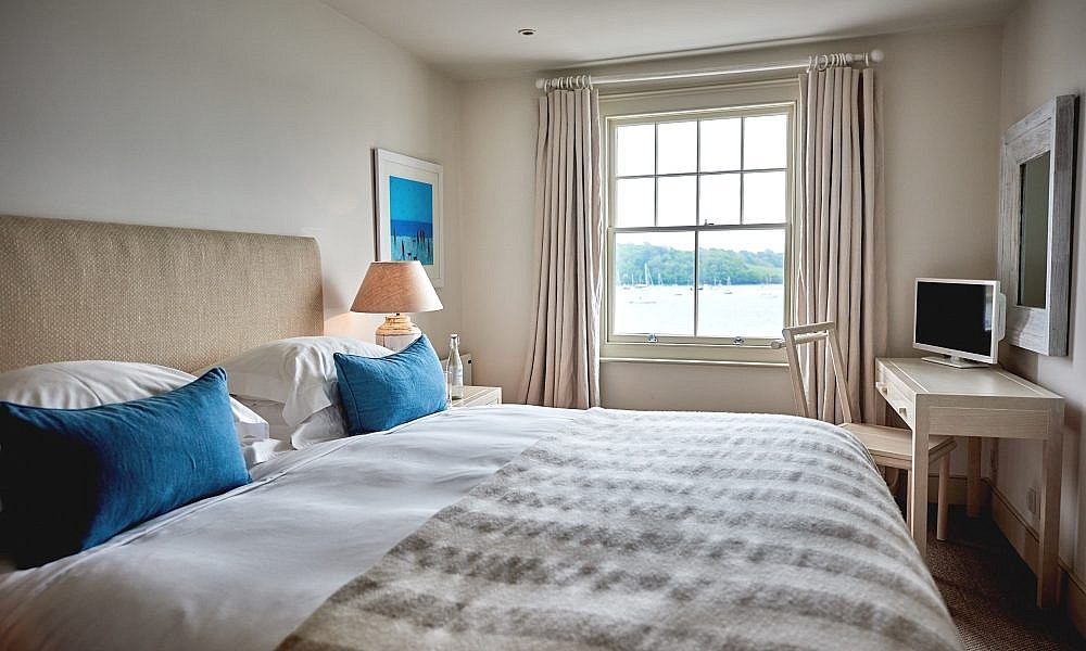 bedroom at St Mawes Hotel with view