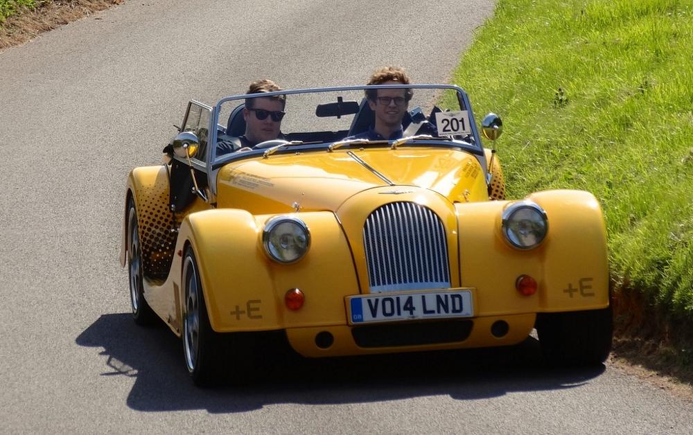 a yellow morgan car