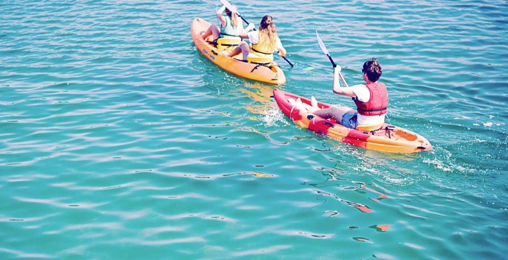 kayaking on blue sea